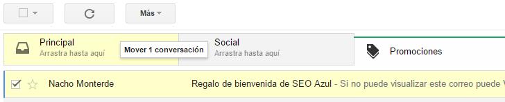 Pestaña Promociones de Gmail